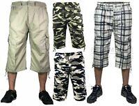 Mens 3/4 Long Length Elasticated Shorts Waist Cargo Combat Three Quarter Pants w