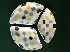 More details for mosaic by jessie tait midwinter stylecraft ~ 3 triangle shape dishes ~ lqqk rare
