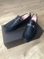 Gucci Moccasins Mens Horsebit Black Loafers Leather Buckle Shoes 367762 us 11