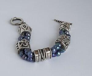Amazing 1996 Deborah Armstrong Hand Made Sterling Bracelet w Fresh Water Pearls