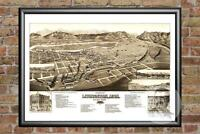 Old Map of Livingston, MT from 1883 - Vintage Montana Art, Historic Decor