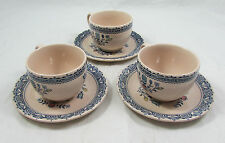 Set of 3 Johnson Brothers Hearts and Flowers Teacups and Saucers
