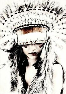 HEADDRESS WHITE INDIAN GIRL FRAMED PAINTING STRETCHED CANVAS PRINTS AUSTRALIA