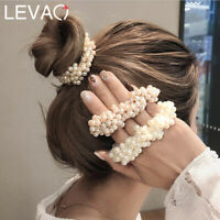 Women Rope Scrunchie Ponytail Holder Pearl Beads Elastic Hair Bands Hair Ties AU