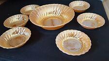 VINTAGE ANCHOR HOCKING FIRE KING  PEACH LUSTRE DESSERT SET bowls dishes x7