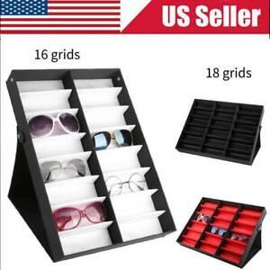 16/18Slot Eyeglass Sunglasses Glasses Storage Display Grid Stand Case Box Holder