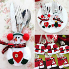 Christmas Santa Snowman Tableware Silverware Holder Suit Dinner Party Xmas Decor