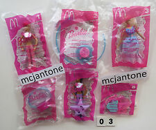 MIP SET 6 McDonald's 2003 BARBIE Doll STYLE HAIR Toy SWAN LAKE Christie COMPLETE