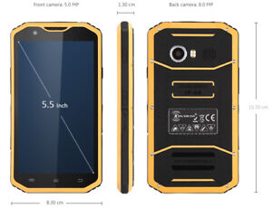 """Unlocked Kenxinda W8 IP68 Waterproof Rugged 4G LTE 5.5"""" Screen GPS Smartphone"""