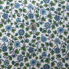 "Vintage Cotton Full Feed Sack Aqua & Shades of Blue Small Floral  44"" x 36"""