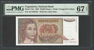 Yugoslavia 10000 Dinara 1992 P116a Uncirculated Grade 67