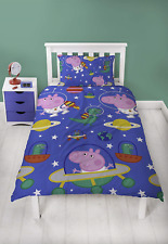 SINGLE BED DUVET COVER PEPPA PIG GEORGE 'Planets' Reversible Cover & Pillow Set