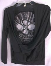 Skull Lace Back Ealey Fushi Ladies Black Open Front Sweater Long Sleeve Cardigan