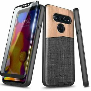 For LG V40 ThinQ Case, Shockproof Rugged Phone Cover + Tempered Glass Protector