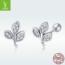 Delicate Girl 925 Sterling Silver Stud Earrings Spiritual Leaves Crystal Jewelry