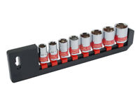 "8 Piece 1/2 "" Drive Socket Set with Storage Rail  - 13 14 16 17 19 21 22 24 mm"