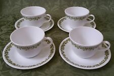 4 Sets (8 pcs) Corning Ware Corelle Crazy Green Daisy Heavyweight Cups & Saucers