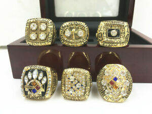 6PCS 1974 1975 1978 1979 2005 2008 Pittsburgh Steelers World Championship Ring #