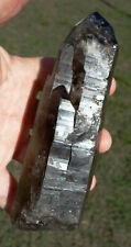 Large True Black MASTER TIBETAN Quartz Crystal Point with Internal Phantom