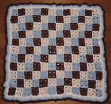 """Crocheted Squares Afghan Lap Throw Blue White Brown Hand Made Vintage 43"""" x 44"""""""