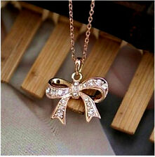 18K Rose Gold GP Beautiful Bow Crystal Pendants Necklace