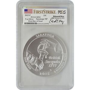 2015-P Saratoga PCGS SP69 First Day Of Issue Ed Moy Signature ATB 5 Oz Silver