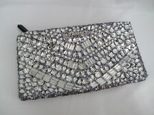 (1) NWT Victoria's Secret RARE Silver Rhinestone/Sequin Sparkle Clutch FREE SHIP