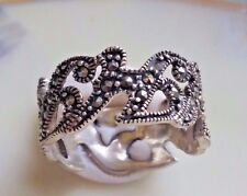 Vintage Suspicion QVC Sterling Silver Faceted Marcasite Initial H Ring Size 6.5