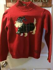 RALPH LAUREN RLR Red Dog Holiday Christmas Sweater Size SMALL PETITE PS