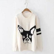 Womens Cartoon French Bulldog Preppy Casual Cute Soft White Pullover Sweater top
