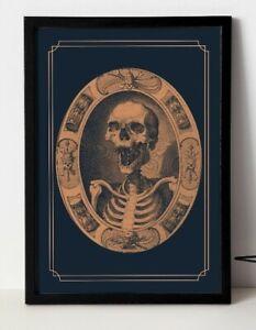Vintage Skull Engraving - Modernised Print, Skull Art, Skull poster