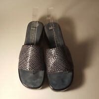 A. Giannetti Women's Slip On Sandals Blue Leather Weave Upper Size 7.5