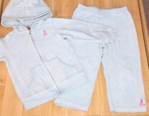 USED JUICY COUTURE 2 PIECE OUTFIT GIRLS 24 MONTHS AQUA BLUE PINK LOGO VELOUR