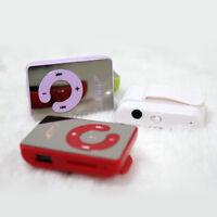 7 Colors Mirror Mini Clip MP3 Music Player Support 1-8GB Micro SD TF Memory Card