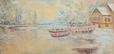 1999 Impressionist gouache painting winter river landscape signed