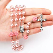 Pink Glass Pearl Beads Roses Rosary Necklace Lourdes Center Jerusalem Crucifix