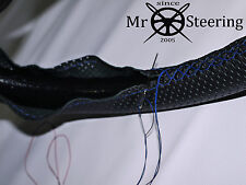 FITS MAZDA MX5 III 05-15 PERFORATED LEATHER STEERING WHEEL COVER BLUE DOUBLE STT