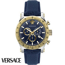Versace VEV800219 Sporty Chronograph silber gold blau Leder Herren Uhr NEU