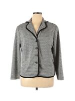 Dressbarn Women's Black & White Knit Print Career Blazer Jacket Plus Size 14