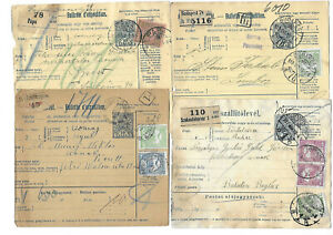 Hungary turul stps 4x parcel cards diff frankings and dstps 1910/1917 discounted