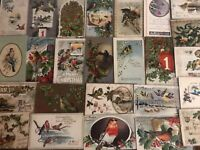 Lot of 25~VINTAGE~CHRISTMAS & NEW YEAR'S BIRD POSTCARDS with Birds~c378