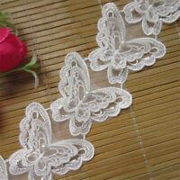 1 yard Butterfly Pearl Lace Trim Wedding Bridal Ribbon Applique DIY Sewing Craft