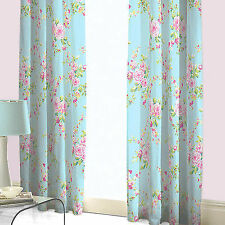 Catherine Lansfield Canterbury Blue and Pink Floral 66x72 Curtains