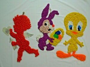 Vintage Melted Plastic Popcorn Window Decorations Tweety Bird Cupid & Bunny
