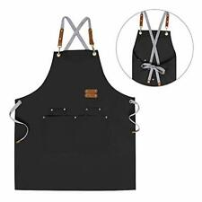Chef Apron,Cross Back Apron for Men Women with Adjustable Straps and Large Pock