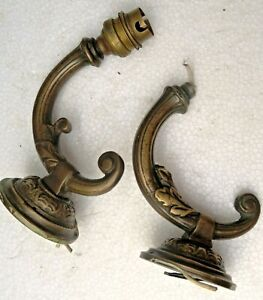 ANTIQUE solid BRASS electric lighting WALL Sconce fixture Part incomplete Qty-2