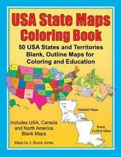 USA State Maps Coloring Book : 50 USA States and Territories, Blank, Outline ...