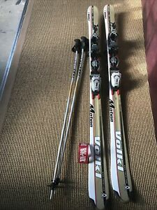 Volkl 724 Motion Skis Gold With Bindings Included  and 115mm Leki Ski Poles