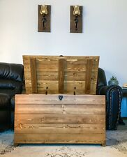 Farmhouse Wood Bench Chest Latch Lock Storage Trunk Mid Century Legs Gift Rustic