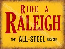 Ride a Raleigh Bicycle, Steel Vintage Cycle Bike Advert, Large Metal/Tin Sign